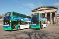 Image of National Express Dundee hybrid buses