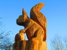 Close up of Camperdown Squirrel Sculpture